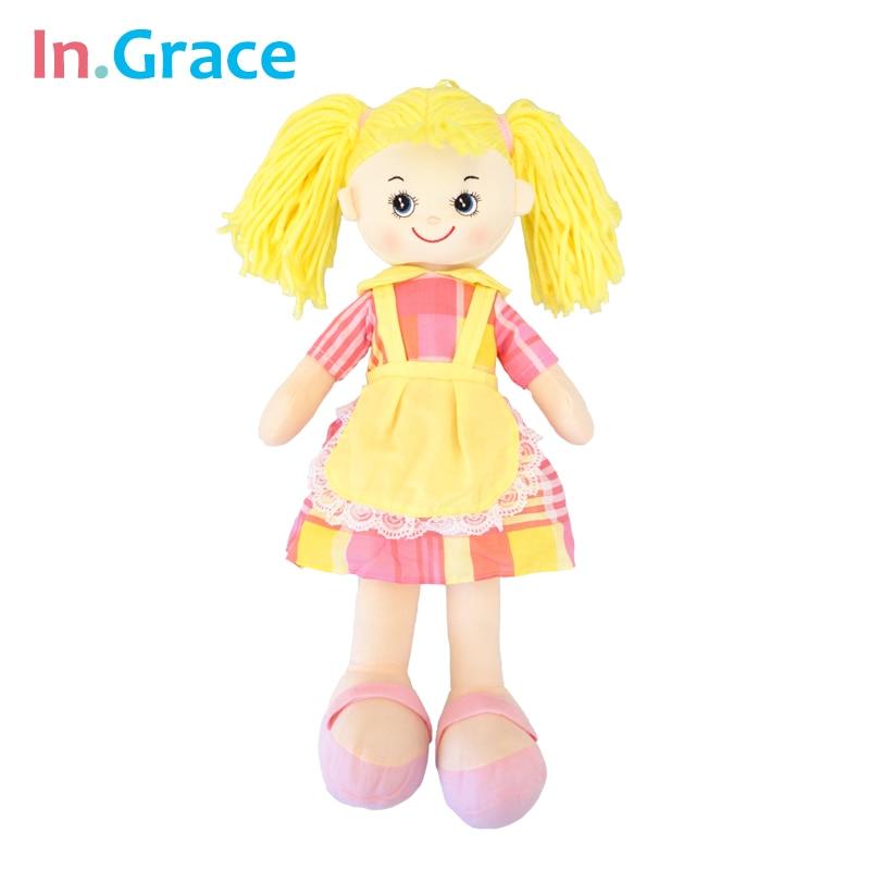 In.Grace 2016 mode kwaii tjej födelsedagspresent 19 tums levande dockor för baby tjej guld långt hår amerikansk tjej docka 4 färger