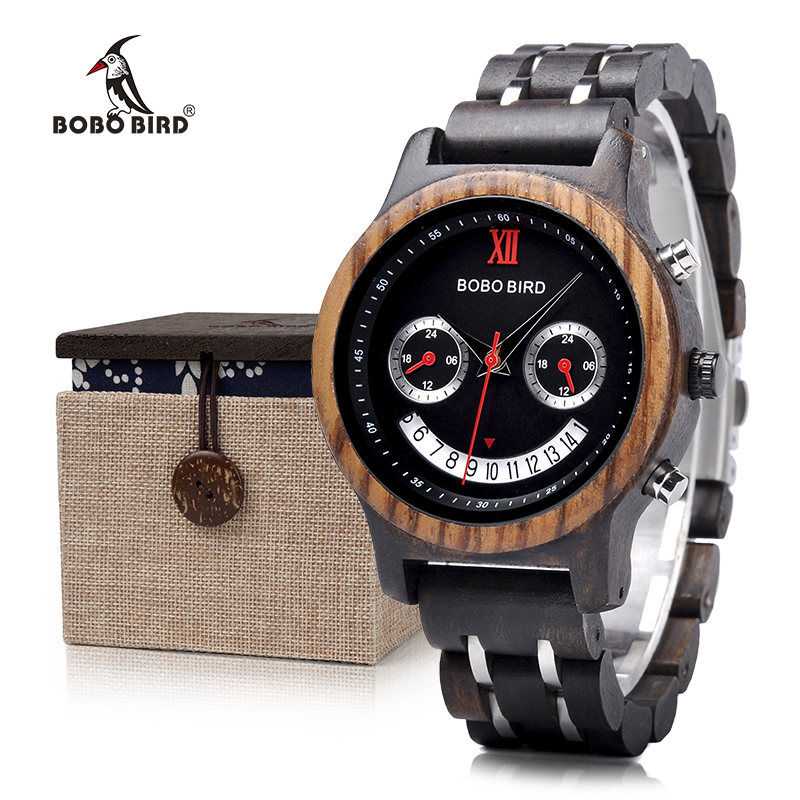 BOBO BIRD New Design Lovers 'Natural Wood Watches Smile Face - Damklockor