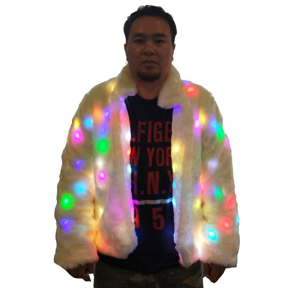 En Fourrure Veste Costume Led Hiver Fausse Lumière Halloween Homme Up Outwear Ohlees Party Adulte Manteau 6xwBaqwE