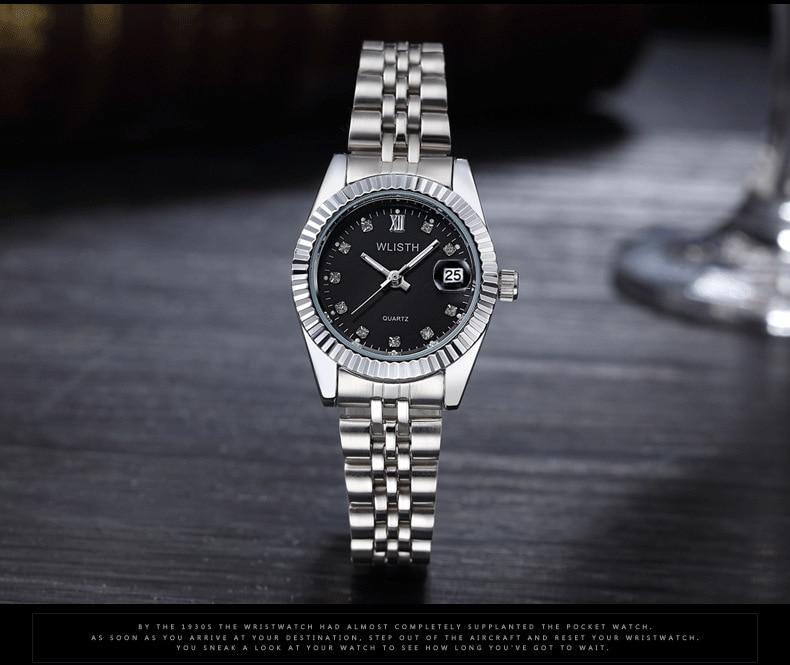 WLISTH роскошные золотые часы для женщин и мужчин, для влюбленных, нержавеющая сталь, Кварцевые водонепроницаемые мужские наручные часы для мужчин, аналог Авто Дата clcok - Цвет: Silver Black For Lad
