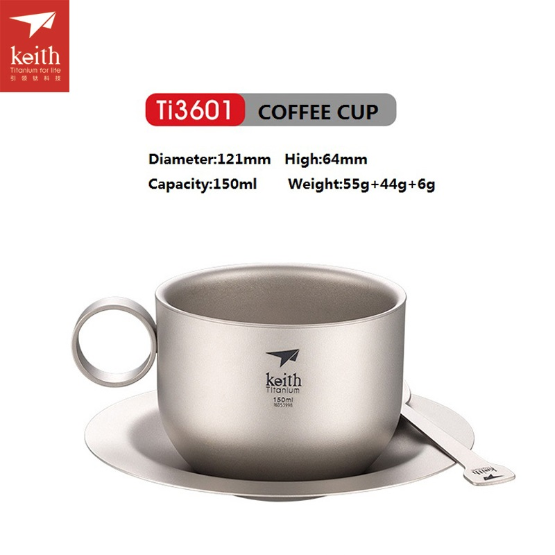 Keith Titanium Tea Cup 150ml Ultralight Coffee Mug Spoon Outdoor Camping Teaware Set Ti3601