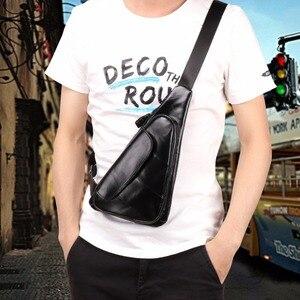 Image 5 - Joyir Mannen Driehoek Koe Lederen Schoudertas Reizen Lederen Borst Bag Strap Sling Casual Borst Pakken Crossbody Tas Voor mannen