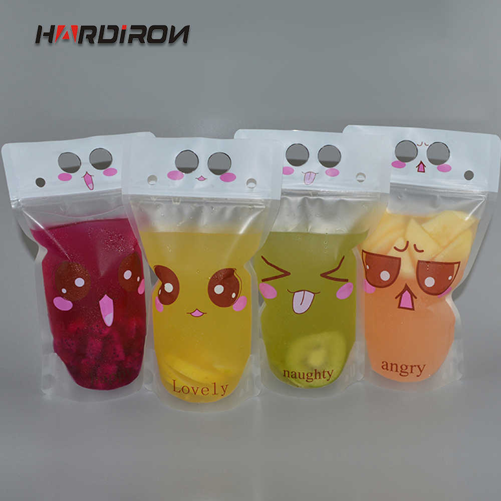 HARDIRON 100PCS Creative Smiley Face Expression Disposable Beverage Bag Juice Coffee Portable Ziplock Packaging Pouch with straw