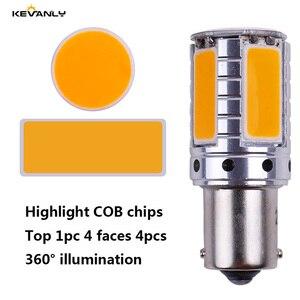 Image 2 - 2 Stuks Canbus 12V 24V P21W BA15S BAU15S PY21W S25 1156 Cob Led Auto Backup Reserve Licht richtingaanwijzer Daytime Light Amber