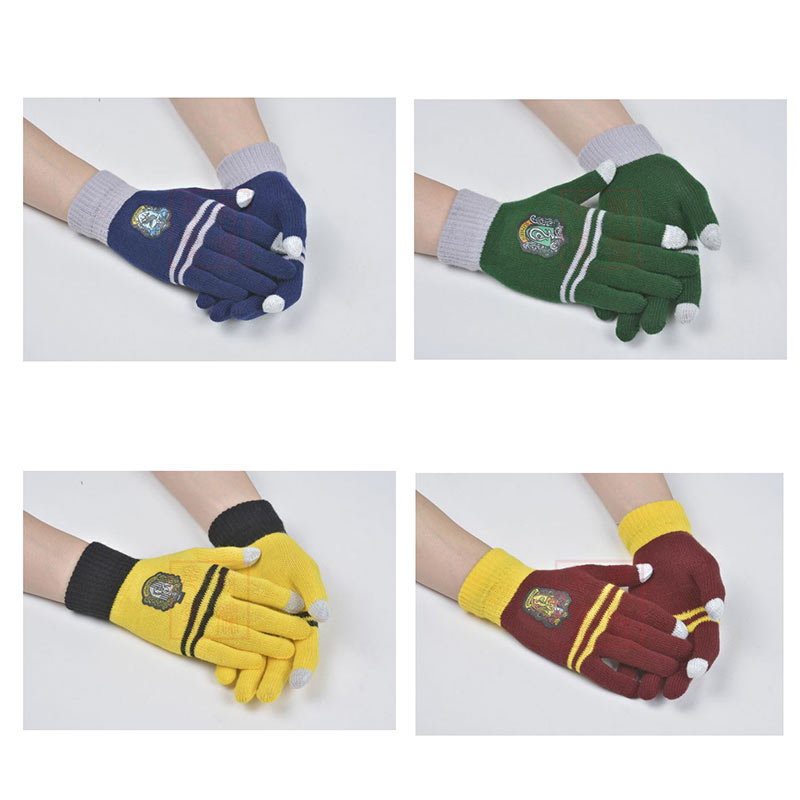 Harriy Potter Gloves Gryffindor Slytherin Hufflepuff Ravenclaw Winter Warm Gloves Cosplay Halloween Party Gifts For Adult Kids