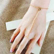 Bohemian Retro Jewelry Gold Finger Ring Hand Multilayer Bracelet Gold Elegant Simple Women's Wire Harness Ring(China)