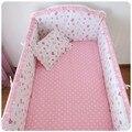 Promoção! 6 pcs rosa Appliqued berço do bebê berço cama set ( bumpers folha + travesseiro )