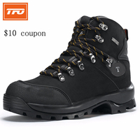 TFO Men Outdoor Travel Hiking Boots Army Green Genuine Leather Sports Shoes Waterproof Hiking Shoes Anti