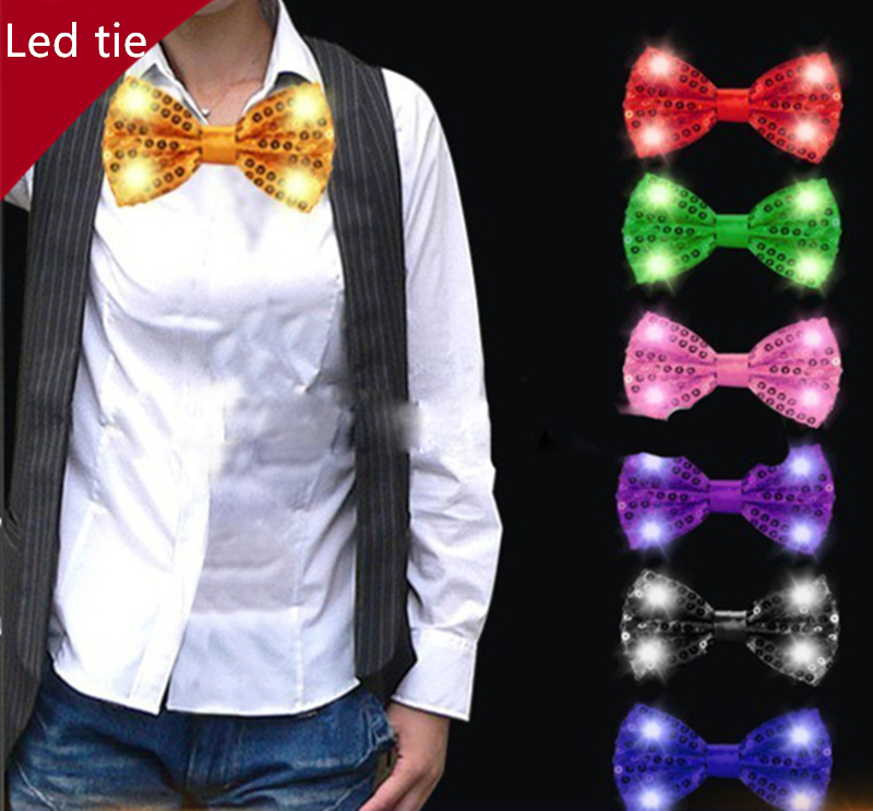 30PCS Halloween Christmas Wedding Party Glowing tie light up toy Female Male flashing led bow tie