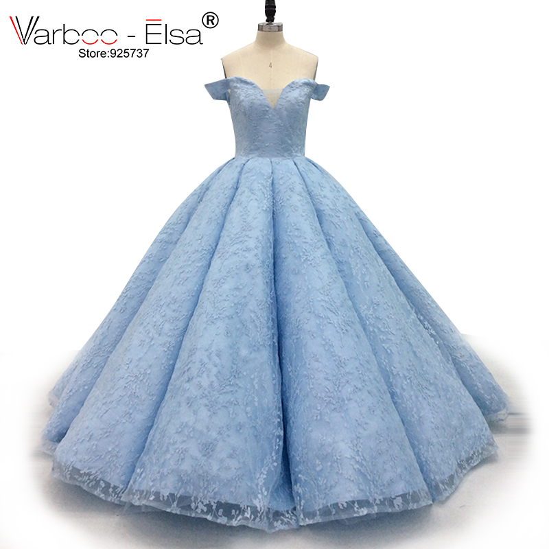 279279cffd VARBOO ELSA Elegant Luxury Evening Dress Lace Appliques Satin Ball Gown  Light Blue Sweetheart Collar Party Dress 2018 New Custom