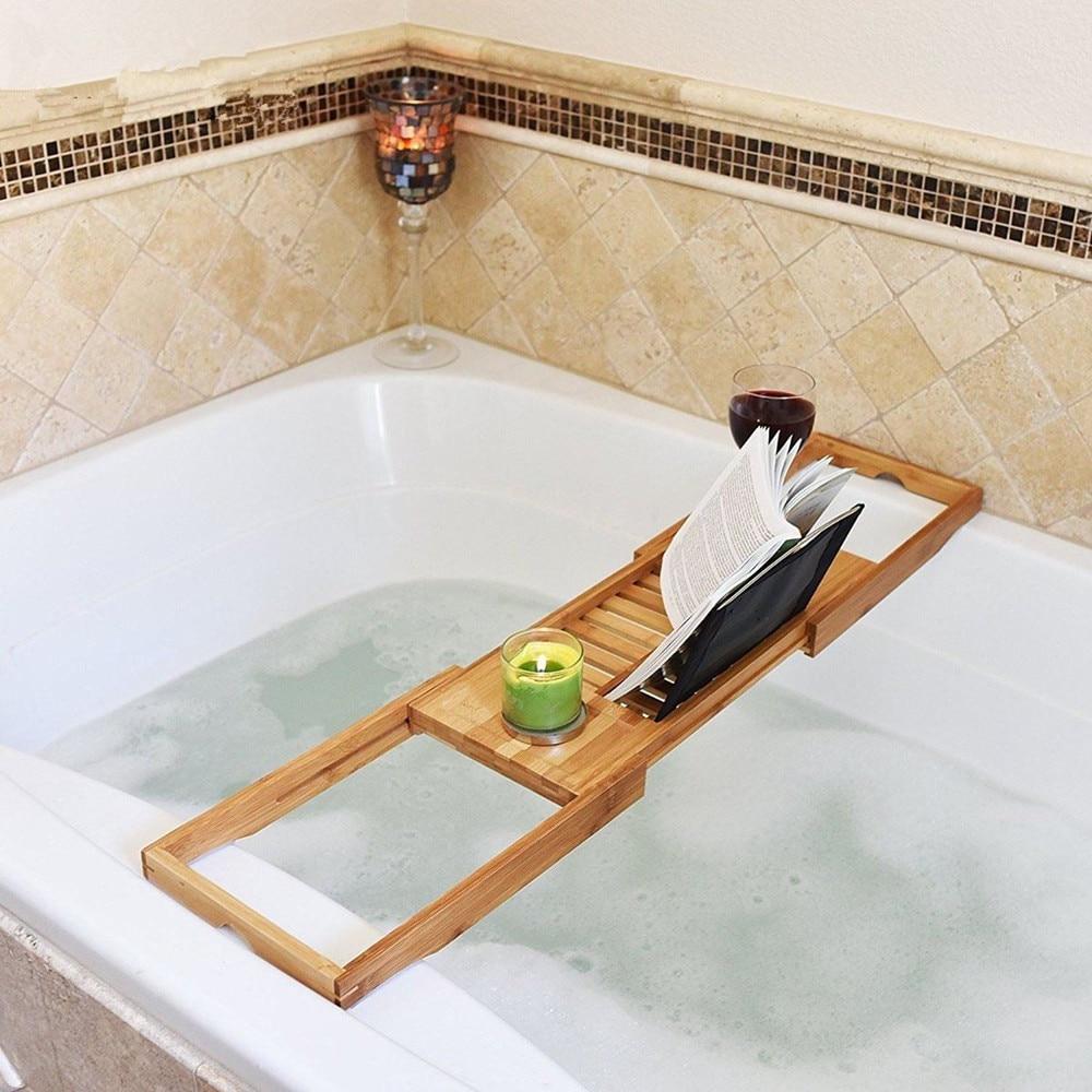 Aliexpress.com : Buy Bamboo Bath Tub Shower Tray Holder Adjustable ...
