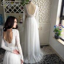 Mryarce Sretchy dantel kollu zarif düğün elbisesi aç geri şifon tül A hattı açık bahçe düğün gelinlikler