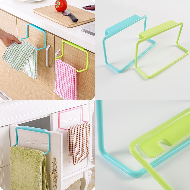 Hot sell 1Pc Over Door Tea Towel Holder Rack Rail Cupboard Hanger Bar Hook Bathroom Kitchen Top Home Organization Candy Colors