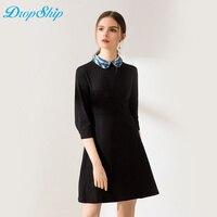 Streetwear Elegant Breathable Plaid Turn down Collar Summer Mini Dress 2018 Black Cotton Bandage Women Vestidos