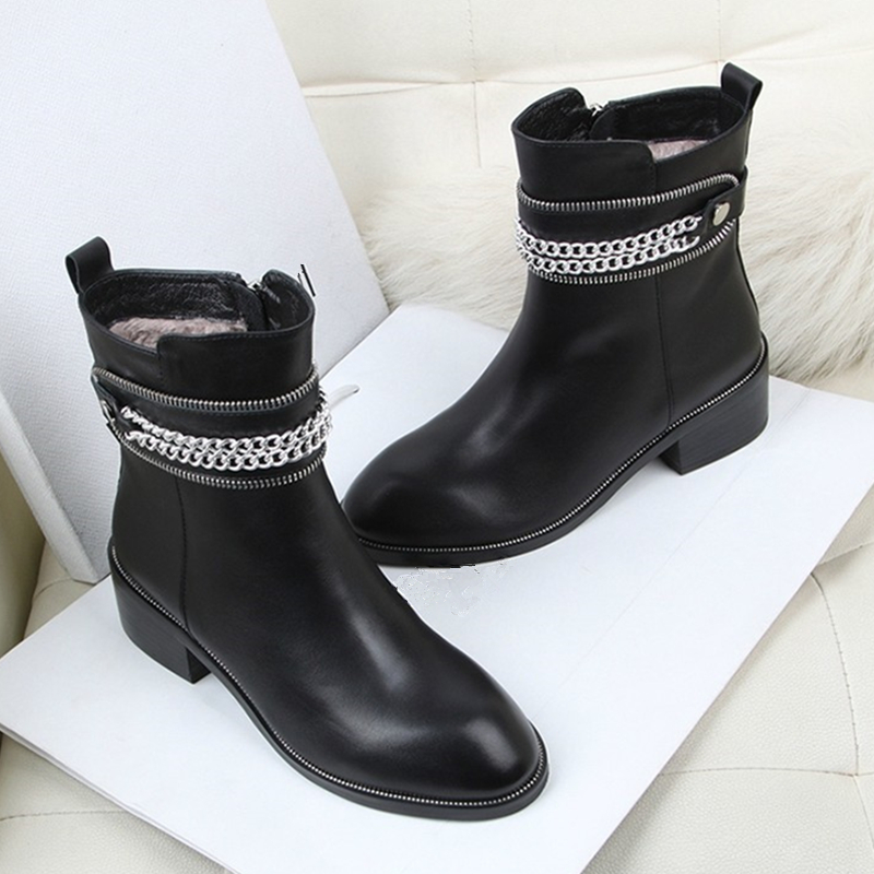 Winter Warm Soft Leather Women Short Snow Boots Fashion