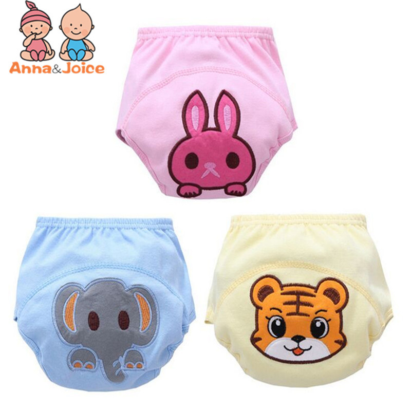 3 Pcs/lot Baby Washable Diapers Underwear/100% Cotton Breathable Diaper Cover/Training Pants B1trx0002