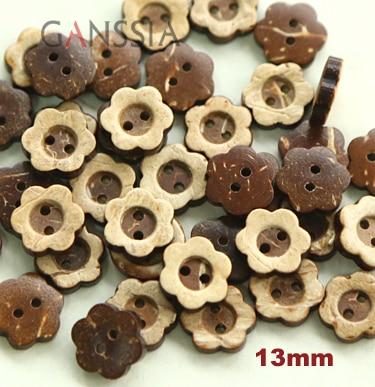50 шт./лот, размер: 13 мм, кокосовые пуговицы в Форме Натурального цветка, кнопка