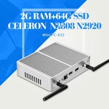 Тонкий Клиент, Celeron N2920 N2808 N3510 DDR3 2 Г RAM 64 Г SSD Mini PC Ноутбук Настольный Компьютер Корпус Mini PC Игры компьютер