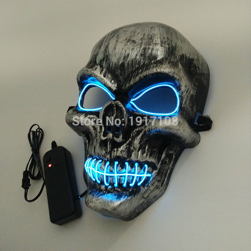 3V sonido activado Party Mask Fashion LED parpadeo luz de neón luminosa EL Wire Ghost Skull Mask para Halloween fiesta de Pascua