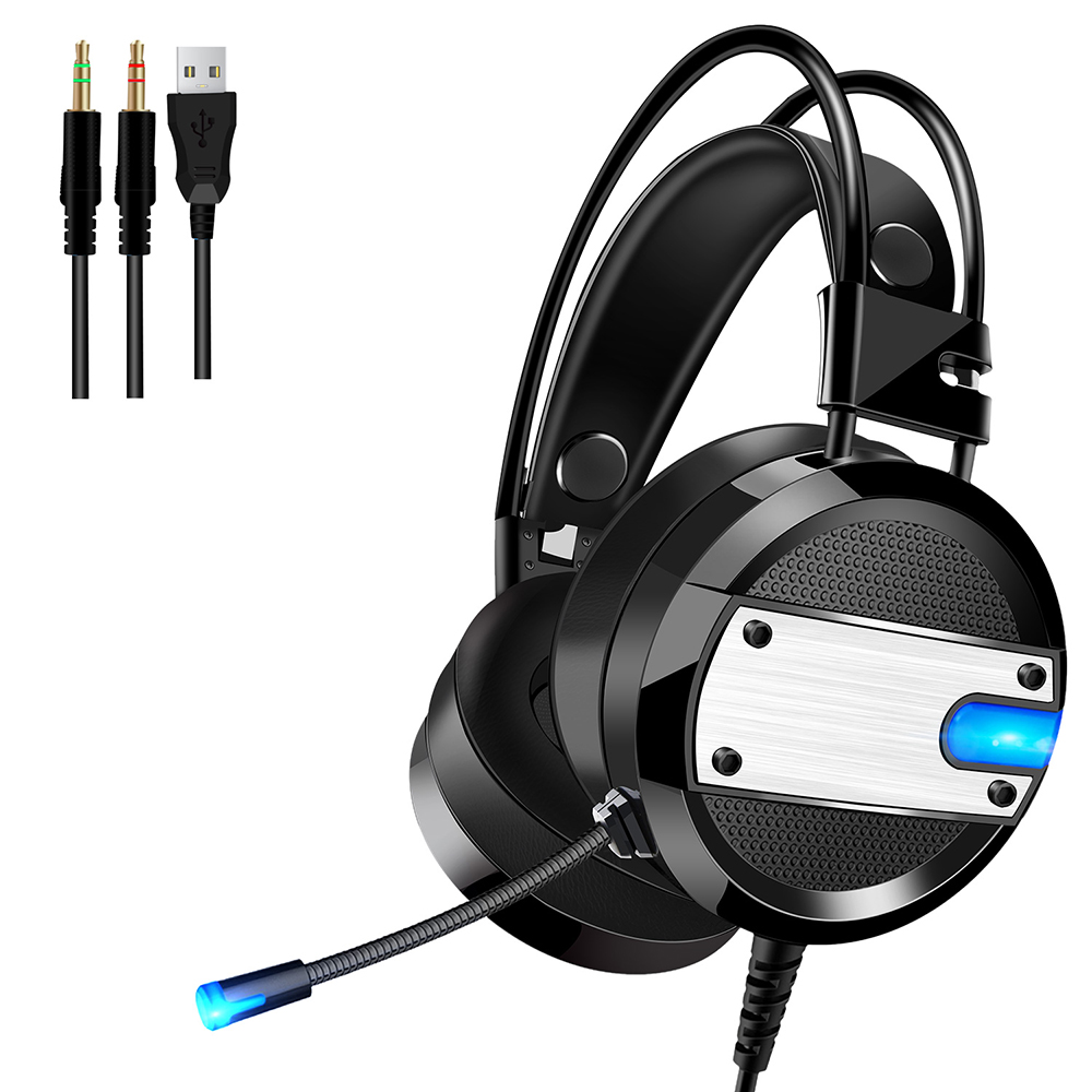 A10 3.5mm Wired Gaming Headset stereo Deep Bass Game Headphone With HD Microphone LED light