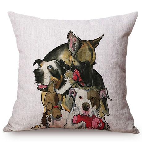 Pet Dog Animals Funny Style Cushion Cover Dachshund Schnauzer Dog Children Like Cotton Linen Sofa Decorative Throw Pillow Case M110-12
