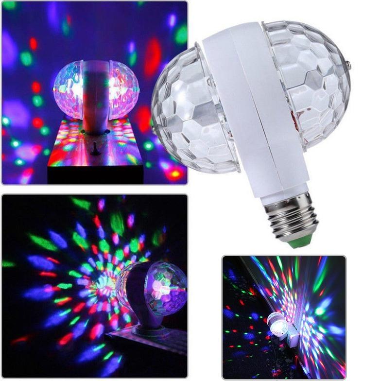 E27 6W LED Stage Light Colorful RGB Auto Rotating Bulbs DJ Light Double Heads LED For Party Disco Music Bar KTV Lighting D40