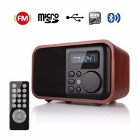 FM Radio Houten Digitale Multi Functionele Speaker Bluetooth Alarm Mp3-speler Micro SD/Tf-kaart USB Afstandsbediening