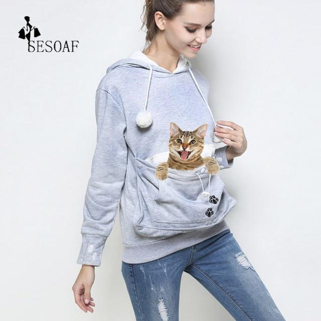 Любители кошек Толстовка кенгуру собак Pet Paw emboridery осень 2017 г. Новый Пуловеры для женщин обниматься мешок Толстовка карман животных уха с капюшоном