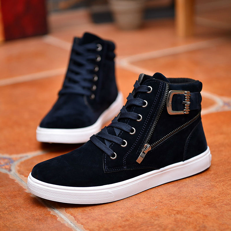 3b26a48f75e4 Hot 2019 Men Flock Leather Casual Shoes Korean Fashion Winter Autumn ...