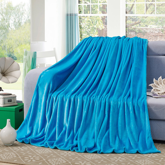 Cozzy New Solid Sky Blue Plush Fleece Blanket Flannel For Bed Sofa Throw  Couch Bedspread 120x200