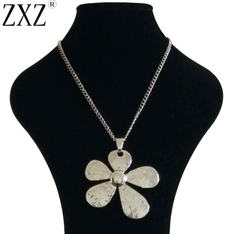 Large Silver Leaf With Heart Pendant Long Necklace Lagenlook Jewellery Fashion