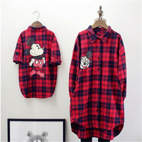 Autumn And Winter Family Matching Clothes Baby Girl Red Lattice Cardigan Shirt Cartoon Fashion Mother Daughter