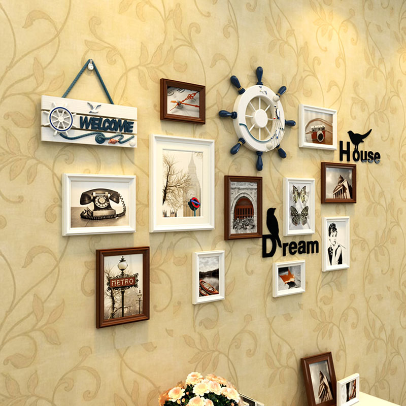 11 pcs/Set Mediterranean Style Photo Frames Set Wood Picture Frame ...