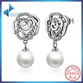 2016 New 100% Authentic 925 Sterling Silver Rose and Pearl Female Earrings TOP Quality  Earrings Jewelry SCE001