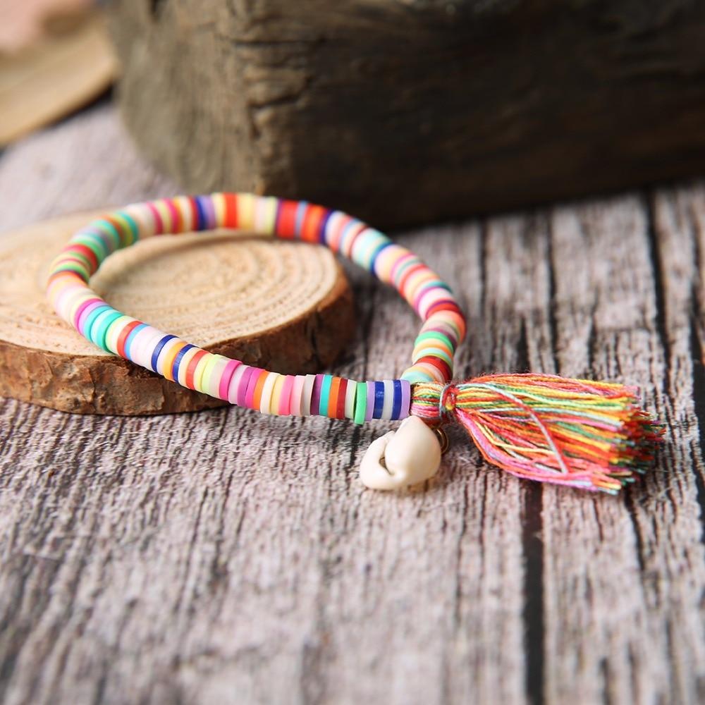 LOULEUR Women Fashion Colorful Pink Beads Handmade Bracelets with Tassel Pendant Shell Jewelry Bohemian Strand Bracelet for Girl