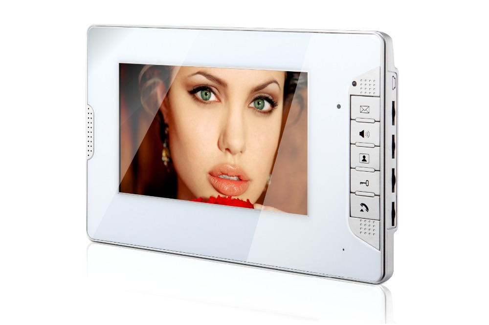 White 7 Inch Color TFT LCD Screen Monitor Wired Video Doorbell Camera System for House Office Apartment