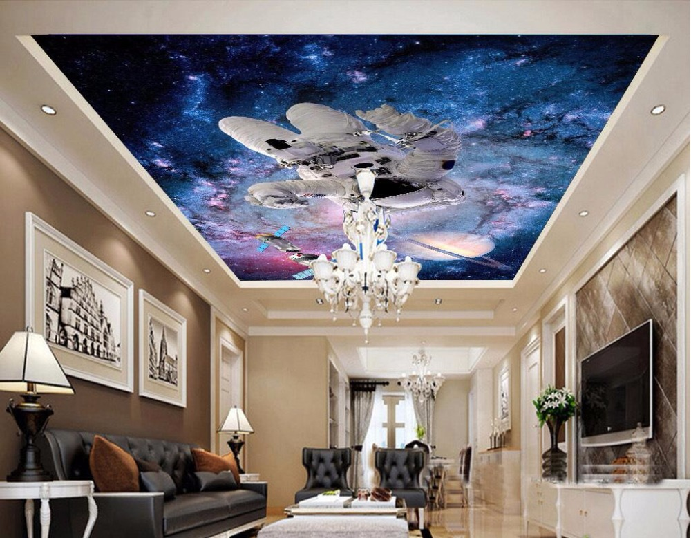 Custom photo 3d ceiling murals wallpaper star astronaut for Astronaut wall mural