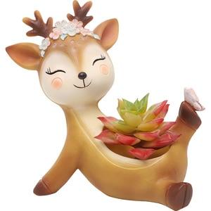 Image 5 - Roogo flower pot home decoration accessories figurines succulent plant Pots balcony modern multi deer annimal resin crafts