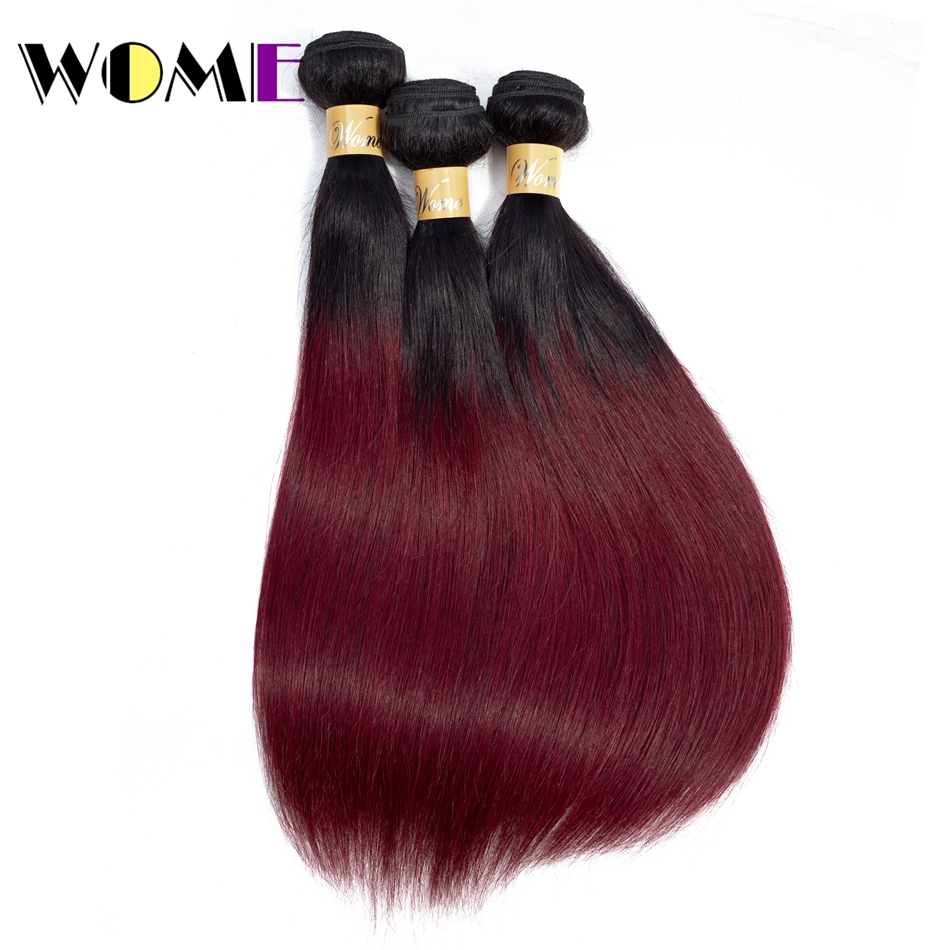 99j-Bundles Human-Hair Burgundy Black Ombre Brazilian Pre-Colored Straight 1/3pcs 1B