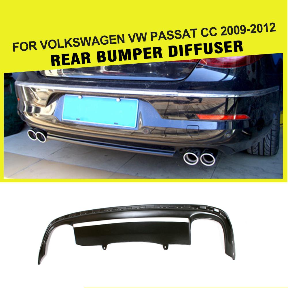 PU Black car rear bumper lip diffuser for Volkswagen VW PASSAT CC 2009-2012 Car Styling pp jc style auto rear bumper spoiler diffuser lip for vw passat cc 08 12