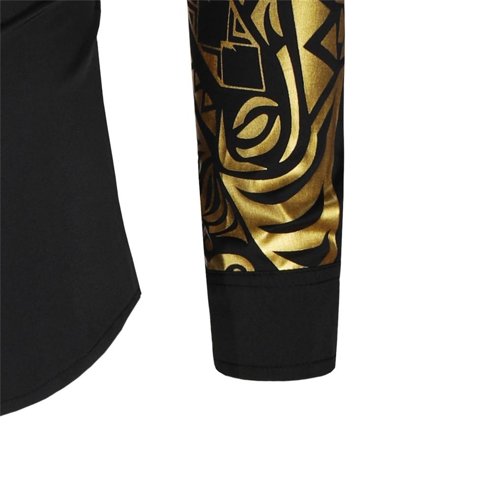 Luxury Gold Black Shirt Men New Slim Fit Long Sleeve Camisa Masculina Gold Black Chemise Homme Social Men Club Prom Shirt 5