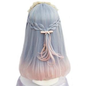 Image 2 - L email wig pour femmes, perruque synthétique de 40cm/15.74 pouces, perruques de Cosplay à couleurs mélangées résistantes à la chaleur, pour femmes
