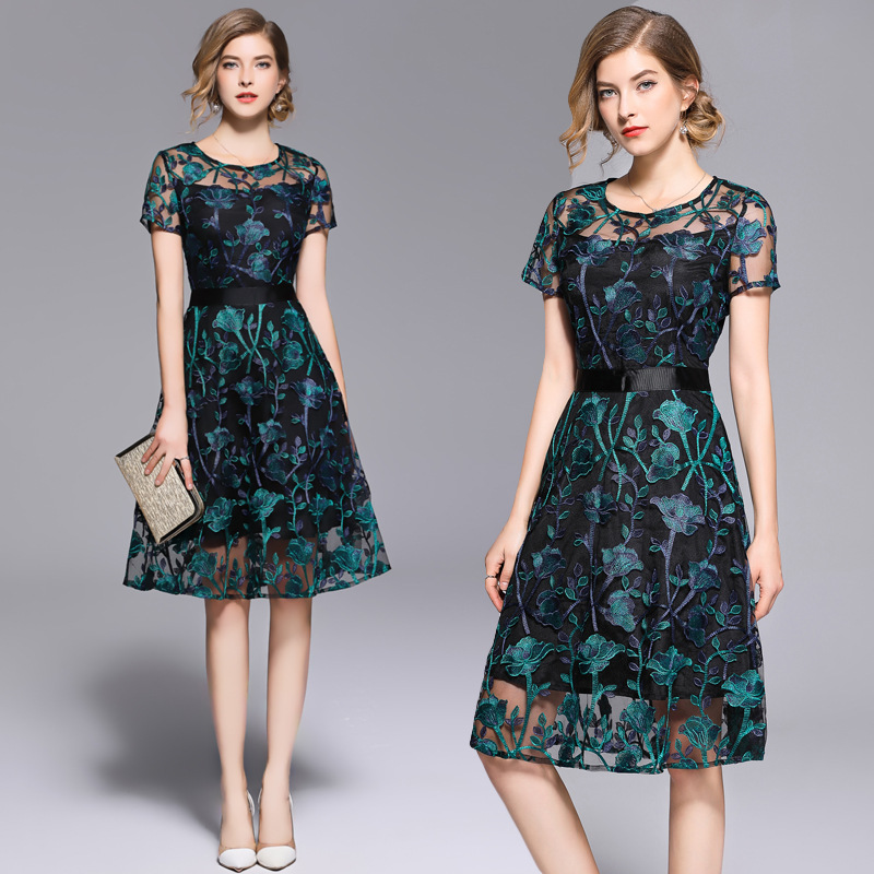 New Arrivals Summer Dress Women O Neck Short Sleeve Embroidery Dresses Streetwear Casual Mesh Dress Ladies Vestidos High Quality in Dresses from Women 39 s Clothing