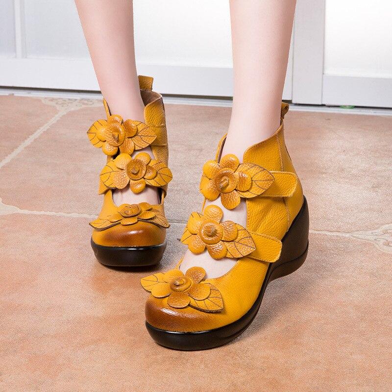 Nouveau Et Dames De Collante Noir rouge Fleurs Chaussures Chaussures Printemps 2018 Magique Pente Style Automne Pour Femmes jaune Haute gZFtwnB