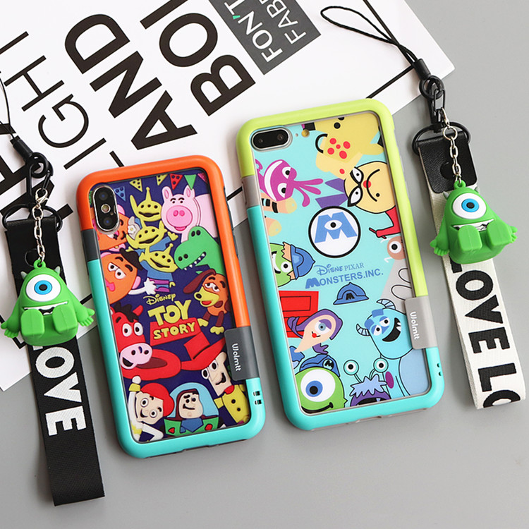 For IPhone XS Max XR X Bumper + Toy Story Monsters Tempered Glass Screen Film (F &B) For IPhone 8 8plus 7 7P 6 6SP+ Toy+strap