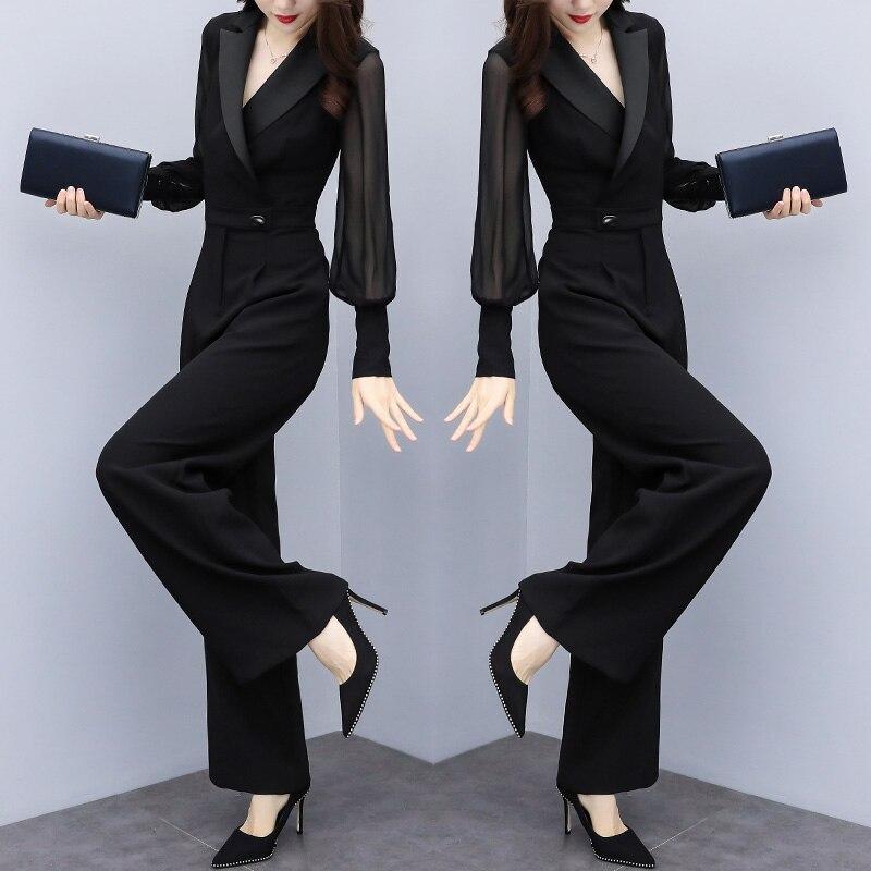 Grande taille 4xl barboteuse Femme Combinaison Macacao Feminino noir mousseline de soie Combinaison Femme élégante salopette tendance pour Femme