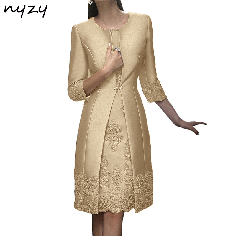 NYZY M22C Real Champagne Mother Of The Bride Outfits 2 Piece With Jacket Groom Mother Dresses Formal Wedding Guest Wear 2019