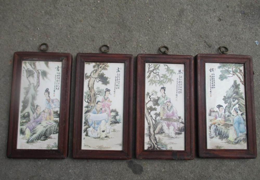 Chinese Old Ceramics Painting With Wooden Frame Clical Piano Chess Book For Wall Decoration Living Room In Calligraphy From Home
