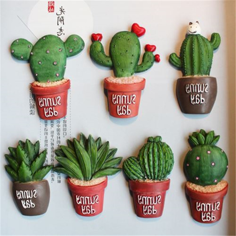 Darmowa wysyłka 7 sztuk / partia Śliczne Sukulenty Kaktus Rysunek zabawka Magnes samochód biuro domowe lodówka dekoracji Turystycznych Pamiątkowe prezenty