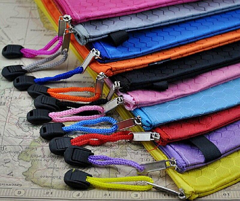 Free Shipping Waterproof  Zip Bag Plastic Document Pen Filing Products Pocket Folder Wallet Office School B4 A4 Size